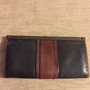 FOSSIL Vintage Black & Brown Large Wallet